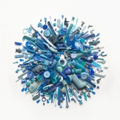 Blue plastic found on beaches